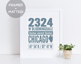 Framed Home Address Custom Print, Framed Home Print, Custom Housewarming Gift, Realtor Gift, Closing Gift, Personalized Print, Coordinates