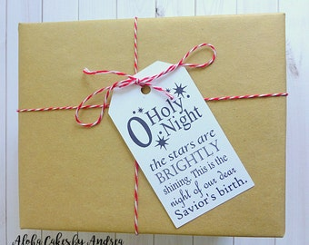 O Holy Night Christmas Tags, Gift Wrapping, Christmas Decor, Presents, String/Twine Included, Cardstock Tag, Luggage Style Tag, Black/White