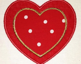 Red and gold heart applique on a body suit or toddler shirt, bib, or burp cloth. Colors can be customized.