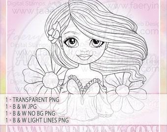 Flowers Ruffles Flowing Hair UNCOLORED Digital Stamp Image Adult Coloring Page jpeg png jpg Fantasy Craft Fae Cardmaking Papercrafting DIY