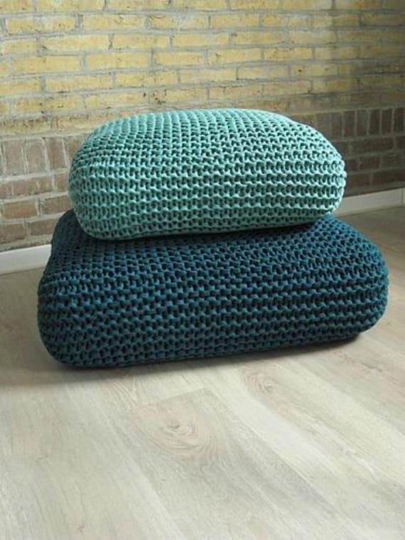 Knit Floor Cushion-Large Floor Pillow-Pouf Ottoman-Chunky Knit