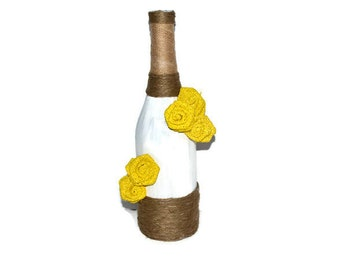 Rustic Painted Wine Bottle Decor,  Rustic Yellow Flowers Theme Wine Bottle, Rustic Wine Centerpiece, Candy Buffet Decor, Wine Bottle Vase