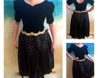 80's Vintage Dress New with Tags- Velvet, Gold Lace & Polka Dots.