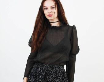 Black Cheer Blouse / Avant Garde Blouse / Vintage Blouse / Puff Sleeve Blouse / Ruffle Collar Blouse / Long Sleeve Blouse / Small