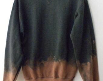 Gray Sweatshirt - Gray crewneck sweatshirt - dip dyed, jumper, crew neck sweatshirt, Boho Chic, Grunge, acid wash sweatshirt