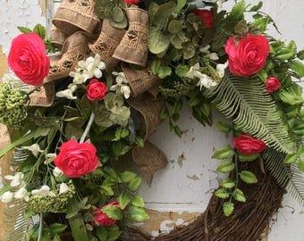 Summer Wreath for Front Door, Spring Wreath, Summer Wreath, Front Door Wreath, Mother's Day Gift