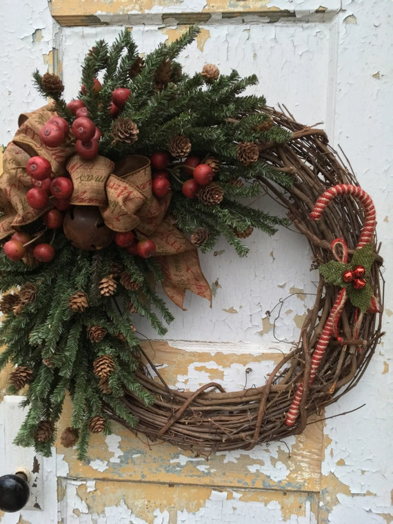 Christmas Primitive Wreath Holiday Primitive Wreath Candy