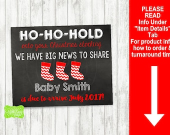 Christmas Stocking Pregnancy Announcement Sign - Printable Pregnancy Announcement Sign - Digital Chalkboard Sign