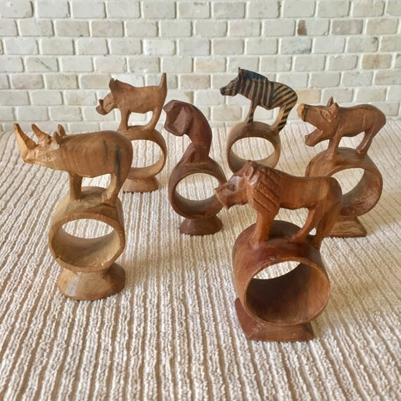 Vintage hand carved wooden animal napkin rings made in kenya