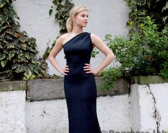 floor length dress,  one shoulder train dress, maxi dress , dress with train, pencil dress, navy dress, evening dress, one shoulder dress
