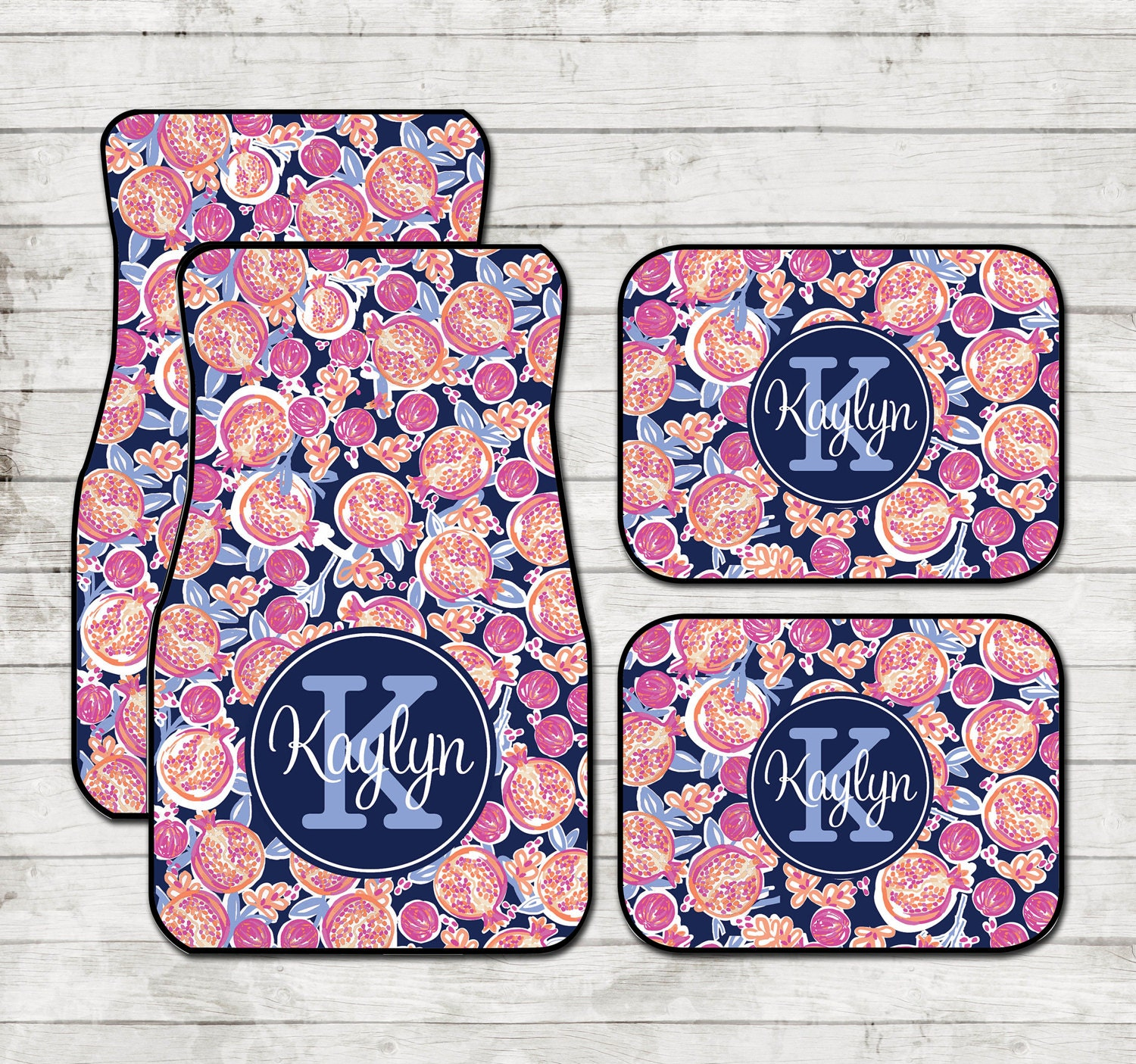 Personalized Car Floor Mats Lilly Inspired Pomegranate