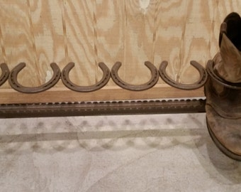 3 pair Repurposed Horse Shoe Cowboy Boot Rack Holder - Authentic Horseshoes - Holds 3 pairs