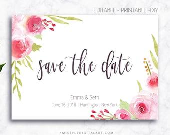 Save the date,Editable,PDF,Rose,Printable Instant Download,Save the date cards,Editable PDF,Save the date template,Wedding,Save the date PDF