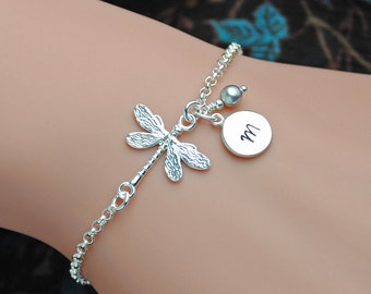 Sterling Silver Dragonfly Bracelet, Personalized Dragonfly Bracelet, Birthstone Bracelet, Initial Bracelet, Sterling Silver Bracelet WB102