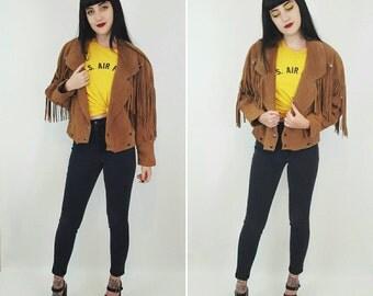 90's Suede Fringe Leather Coat Small/Medium - Tan Light Brown Fringe Sleeve Jacket BOHO Hippie Hipster - Southwestern Cropped Leather Jacket