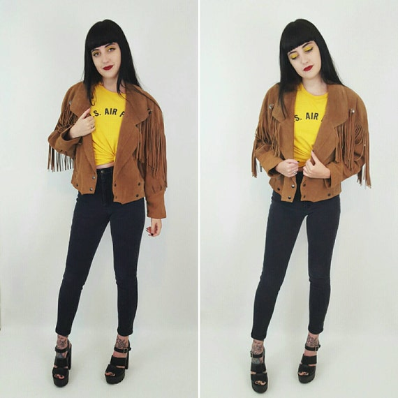 90's Suede Fringe Leather Coat Small/Medium - Tan Light Brown Fringe Sleeve Jacket BOHO Hippie Hipster - Southwestern Cropped Leather Jacket
