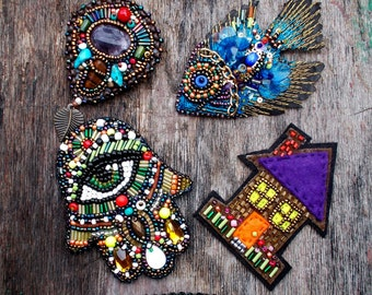 Blue fish bead embroidery brooch shipping included in price - you can purchase all 6 the price is below
