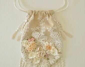 Wedding Purse, Wedding Handbag, Bridal Purse, Victorian Purse, Aged Yellow/Tan Color