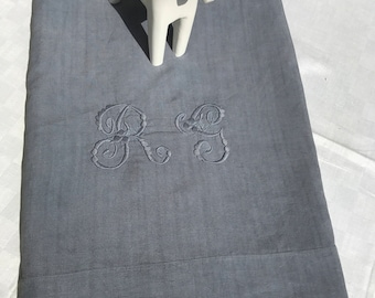 Antic linen , handmade embroidered, monogramm RG ,