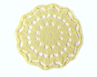 "YELLOW CROCHET DOILY - Round Lace Doily (12"") - Unique Handmade Ornament"