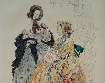 Fashion plate 1839, from the Petit Courrier des Dames, Original Hand Colored Steel Engraving, French Ladies, Illustration, Modes de Paris
