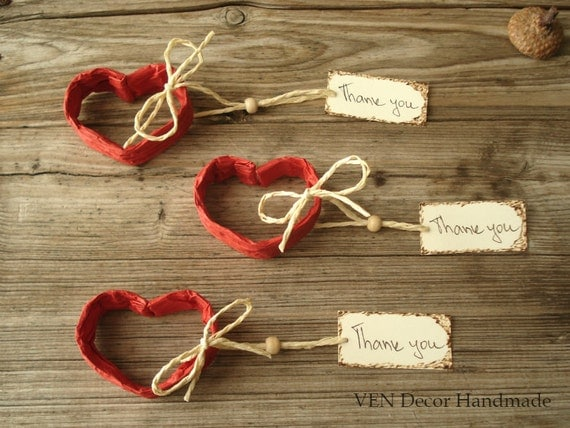 Red Heart Name Card Holders- Set of 10, Wedding Table Setting, Heart Place Cards, Wedding Table Hearts, Romantic Wedding, Heart Placecards