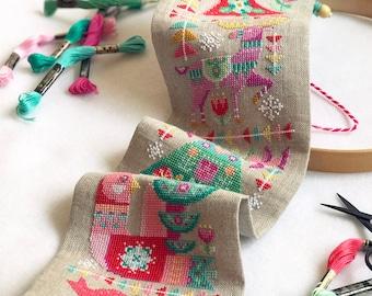 Deck the Halls - Satsuma Street modern Christmas bell pull - cross stitch pattern PDF - Instant download
