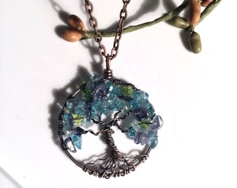 Midnight Blue Apatite and Iolite Tree of Life Pendant with Apatite and Peridot Crystals Pendant Copper Wire Wrapped Chain Gemstone
