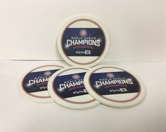 Chicago Cubs World Series Champions coasters- Set of 4