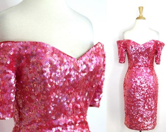 Pink Sequined Dress Off Shoulder Fitted