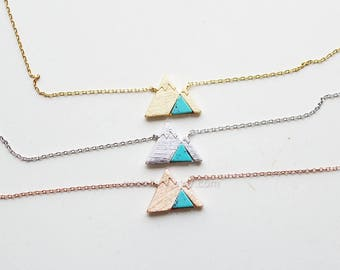 Gemstone Mountain Necklace, dainty turquoise Mountain Necklace, Snowy Mountain Necklace, Mountain Charm, Nature Jewelry, gift ideas