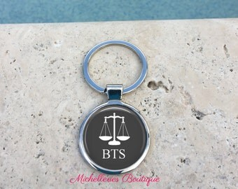 Scales of Justice Personalized Keychain,Scales of Justice Gift, Monogram Mens Keychain,Lawyer Gift,Attorney Gift,Gray, Gifts under 15, MB307