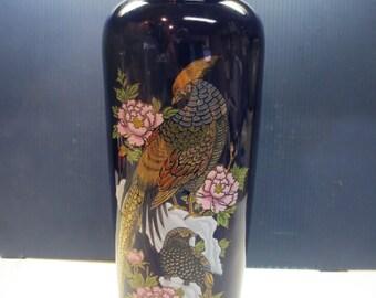 Cobalt Blue Tall Vase Pheasant Peonies Gilded Vase Japan