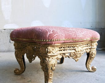 Stunning Antique Cast Iron Foot Stool - Antique Upholstered Foot Stool - Antique Foot Rest - Four Legged Foot Rest - Victorian Foot Stool