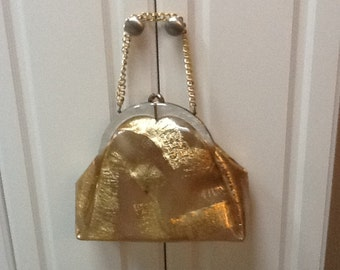 Vintage Clear Plastic Handbag with Faux MOP Frame