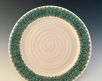 Carved Tessellating Fish Ceramic Serving Plate Handmade  by NorthWindPottery