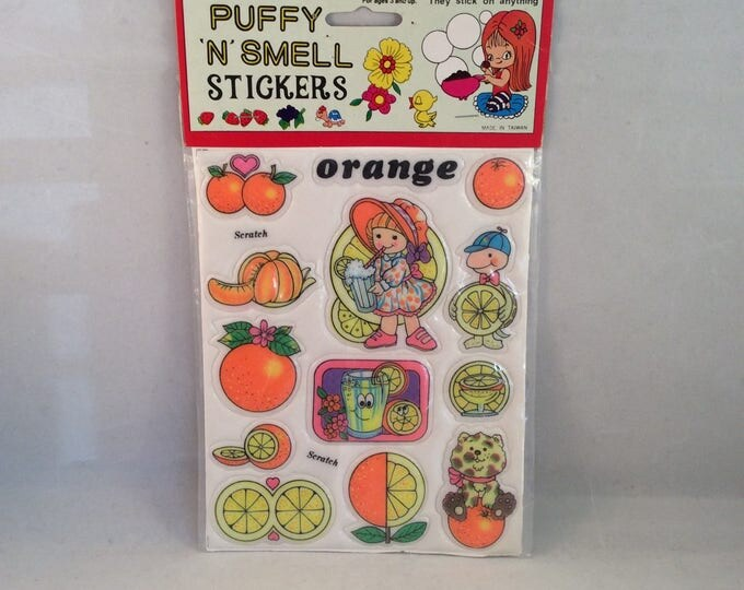 Puffy STICKERS Scratch and Smell ORANGE Scent Theme