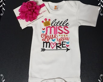 Little Miss Love You More Onezee; Headband Included; Fast Shipping