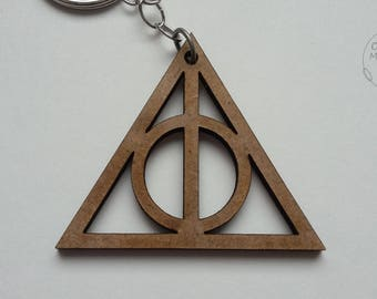 Deathly Hallows Wood Keychain