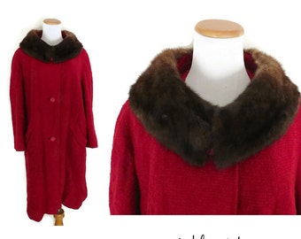 Red Fur Coat 50s 60s Jacket Furry Collar Retro Vintage 1950s 1960s Size Large