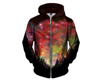Trippy Space Zip-Up Hoodie - Nebula Forest Nature Hoody - EDM Festival Clothing - Sublimation Galaxy Print