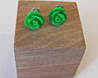 Green- Rose Flower Stud Earrings - Hypoallergenic