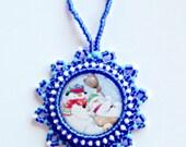 Christmas Tree Ornament, Frosty the Snowman Fun, Holiday Season Decoration, Handmade Beaded, Home Decor Christmas Gift