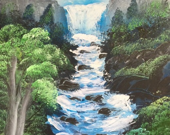 Spray Paint Art Landscape Rushing River Glacier Mountains Cliff