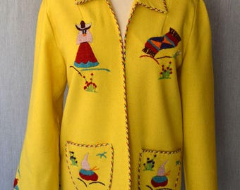 Mexican souvenir jacket/ tourist jacket/ vintage jackets /40s fashion /1940s fashion / hand embroidered wool jacket
