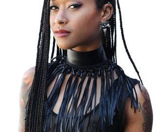 Beaded fringe collar necklace vegan leather choker futuristic statement jewelry cyber tribal chic