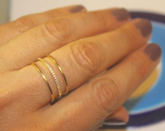 TWO FINISHES Vermeil and Zircon Triple Band Ring - Sizes 5 6 7 8