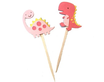 Pink Dinosaur Cupcake Toppers Set of 12 /Paper Girl Dinosaur Cupcake Topper Pink Dinosaur Party Dinosaur Birthday Party Dinosaur Baby Shower