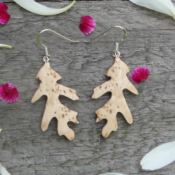 Wood Earrings, Oak Leaf, Sterling Silver leaf earrings, Natural jewelry, Boho wooden earrings, Leaf Jewelry earrings, earthy earrings