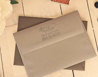 Calligraphy-Inspired Return Address Stamp - Whimsical Hand Lettered Stamp - Family Rubber Stamp